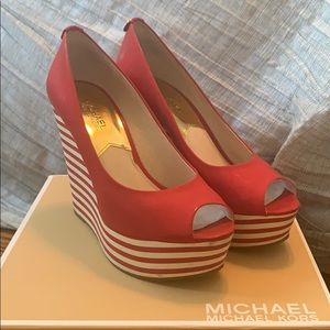 Authentic Michael by Michael Kors red wedges